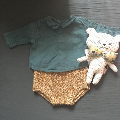 Culotte en maille Zara mini, doudou Ma première box, blouse bébé Bonton en lange